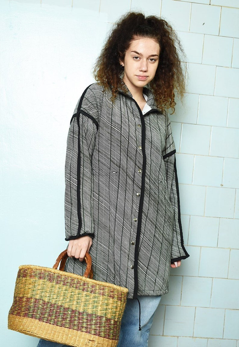 Vintage 70s Mod striped cotton thin puffer parka jacket