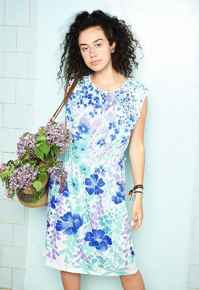 Vintage 70s abstract Mod print floral Parisian summer dress