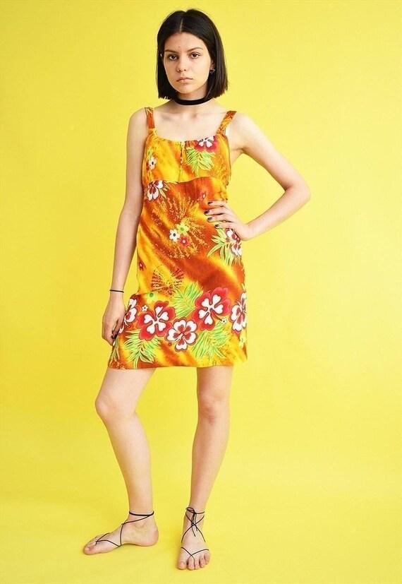 Vintage 90's retro Hawaiian print mini dress women