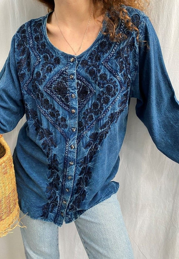 Vintage 80s blue Mexican Top Cross Embroidered Boho Tunic Blouse S 36