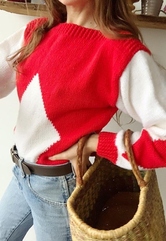 Vintage 70s Argyle Milkmaid Christmas handknitted