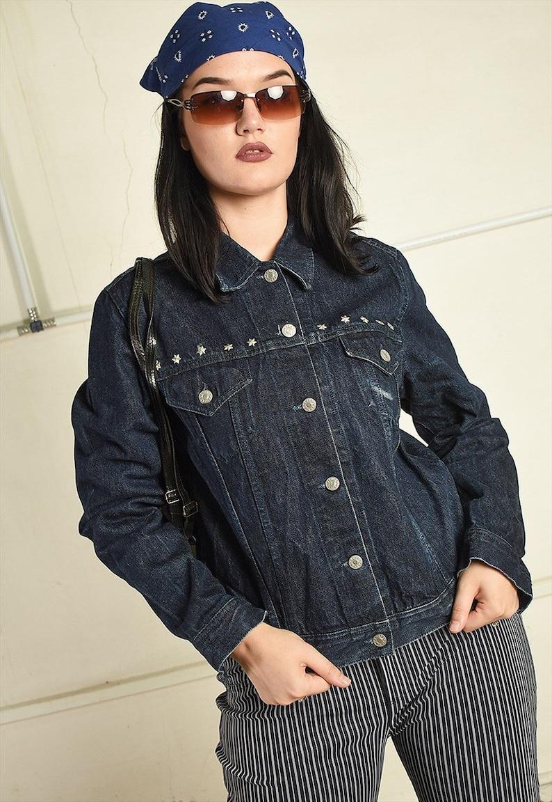 Y2K retro denim studded teen jacket top