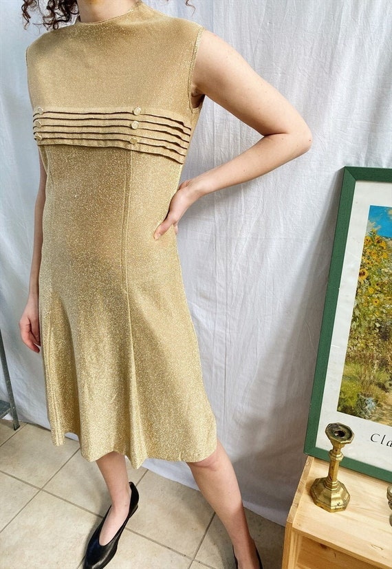 Vintage Luxe 50s Mod Revival shimmer party midi dr