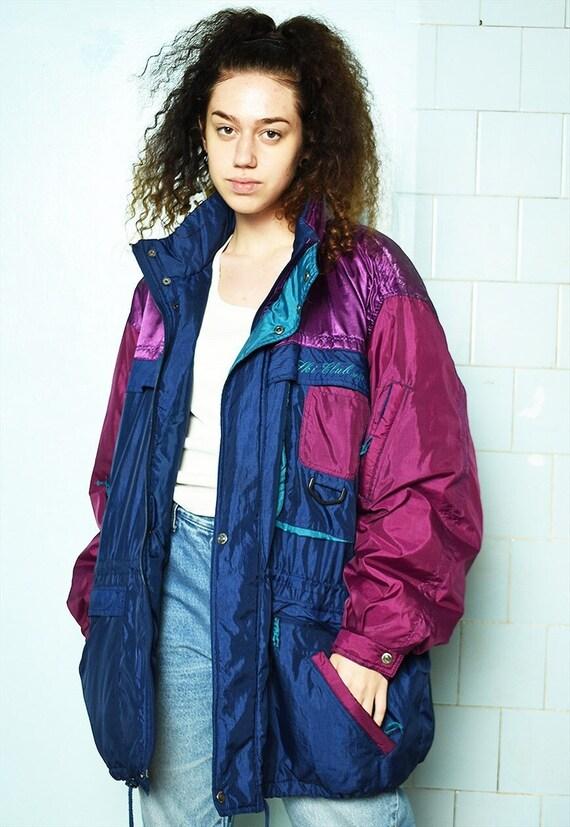 Vintage 80s puffer skiing coat shell parka jacket