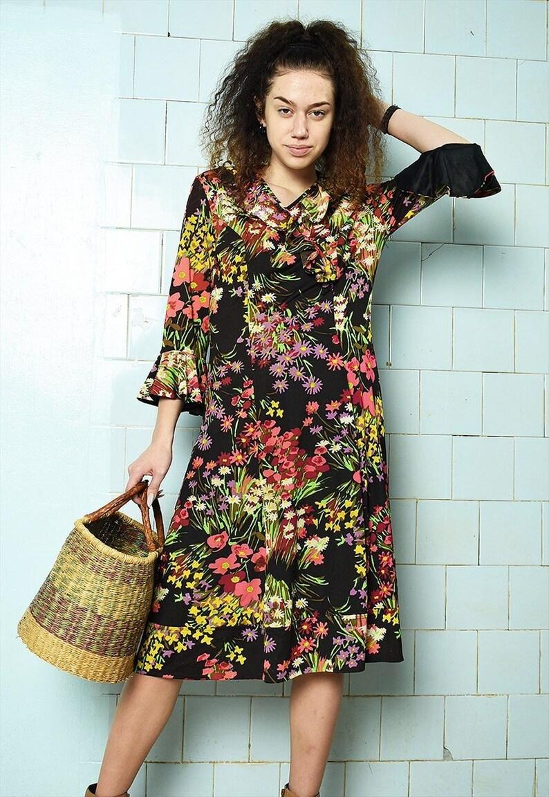 Vintage 50s Floral prom festival Boho chic maxi dress