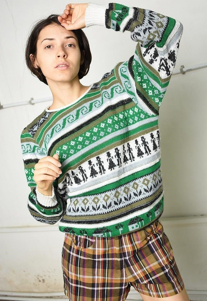 Vintage 90s festival garm knit jumper with Fair Isle print pullover sweater women woman Christmas oversized Xmas ugly festive green