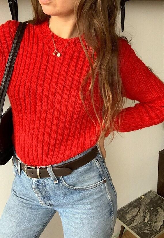 RARE Vintage 40s chunky ribbed knit Italian jumper