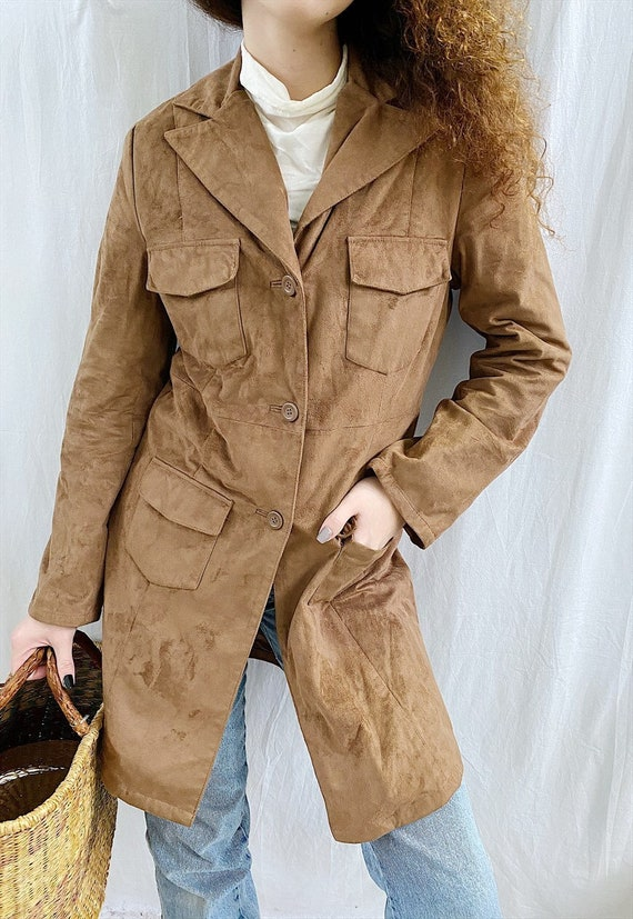 Vintage 90s faux suede Boho trench jacket outwear