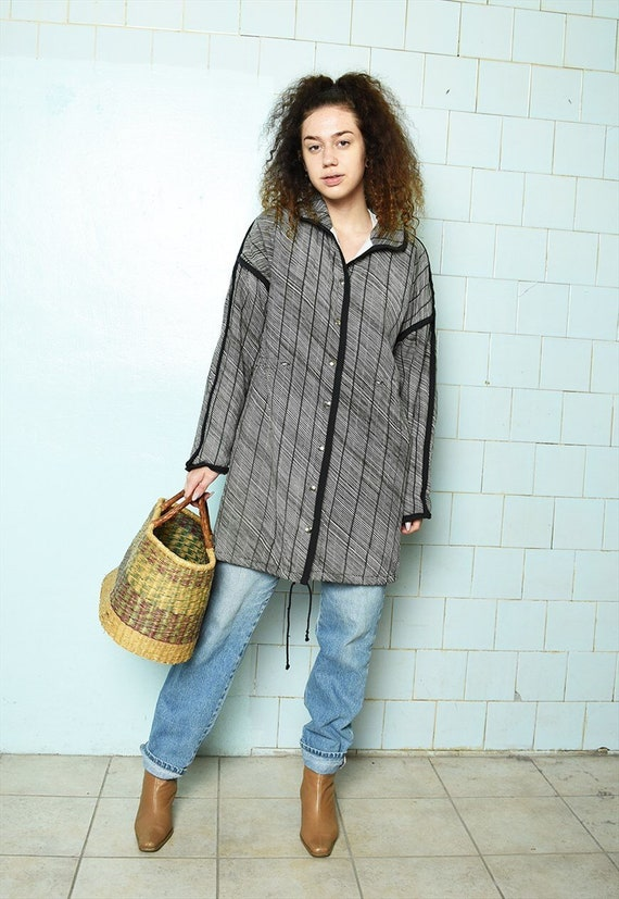 Vintage 70s Mod striped cotton thin puffer parka j