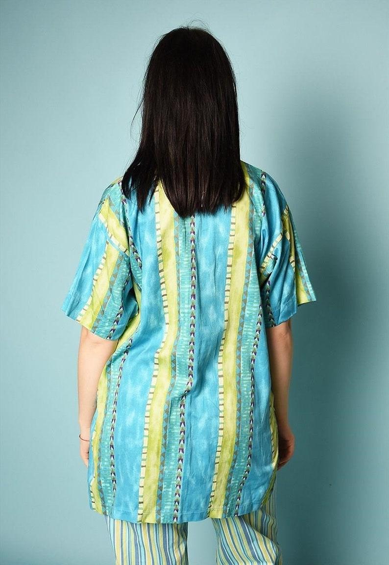 Vintage 90/'s retro Ethnic pattern print festival blouse top