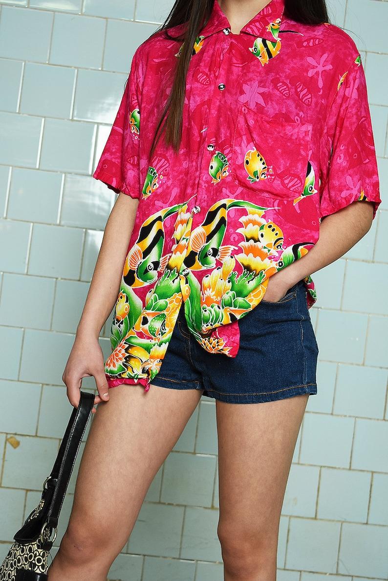 Vintage 90s retro fish print festival blouse top multicolor 1990s 1980s womens woman pattern pink vtg size S Boho shabby chic raver skater