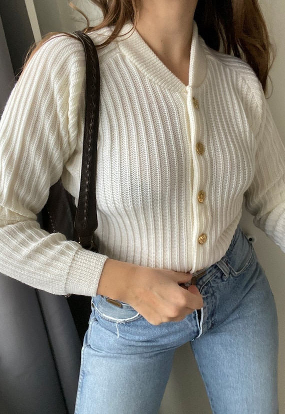 Vintage 60s White Milkmaid crochet knit cardigan j