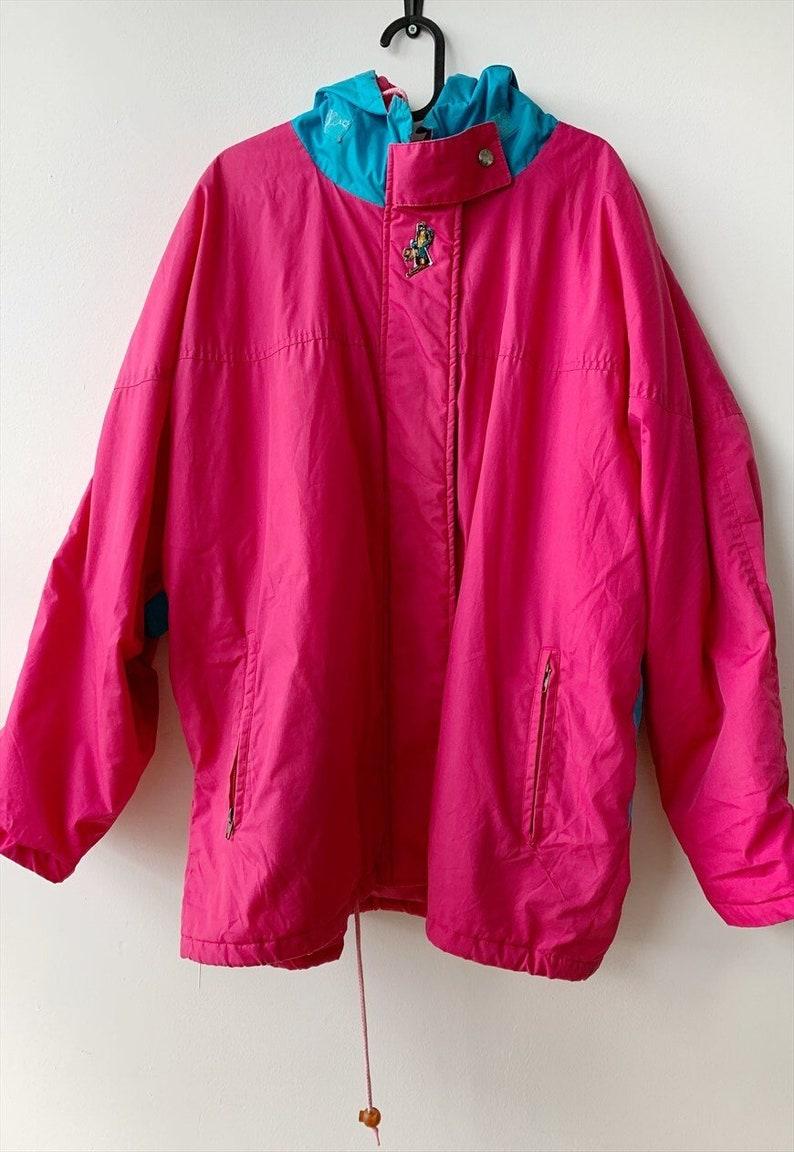 Vintage 80s ELLE mountain wear ski jacket parka coat pink