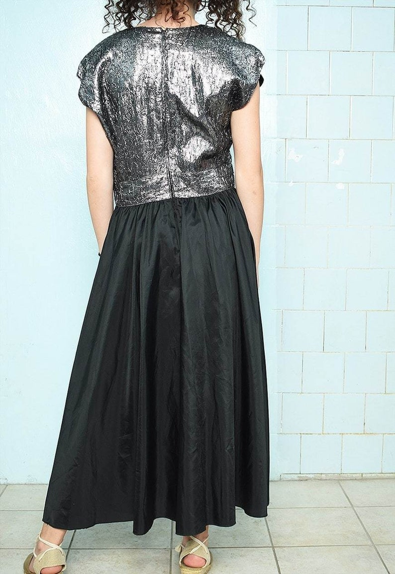 Stunning 70s silver /& black dress maxi prom party evening