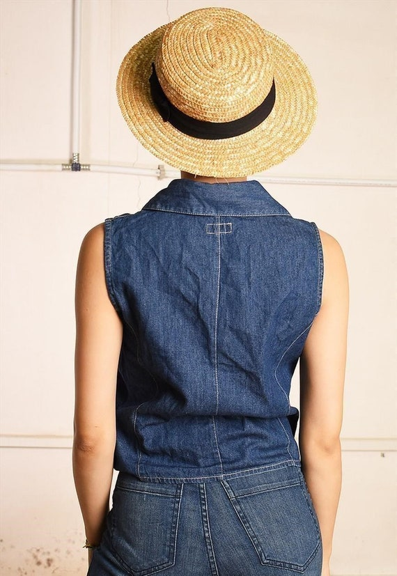 90/'s retro ruffle denim Paris chic top blouse womens woman ladies Boho Bohemian shabby retro 1990s 1970s plus size vintage blue