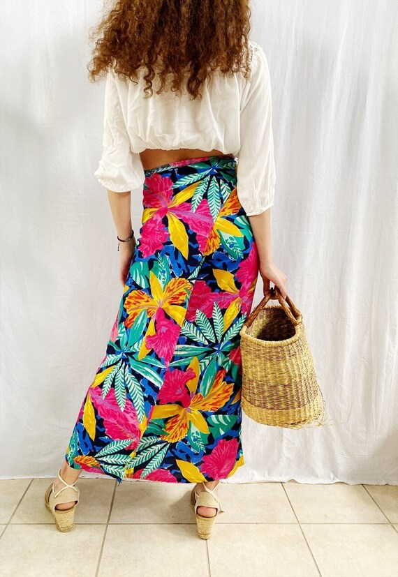Tribal Wrap Skirt Midi Wrap Skirt 90s Boho Skirt 1990s Knee Length Festival Bohemian Red Blue  Small Medium Large