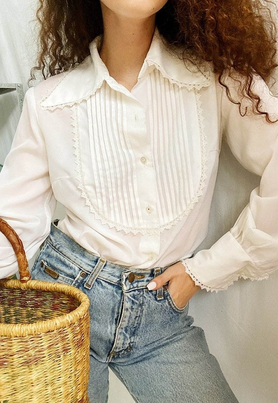 RARE Vintage 40s Luxe Milkmaid pleated blouse top