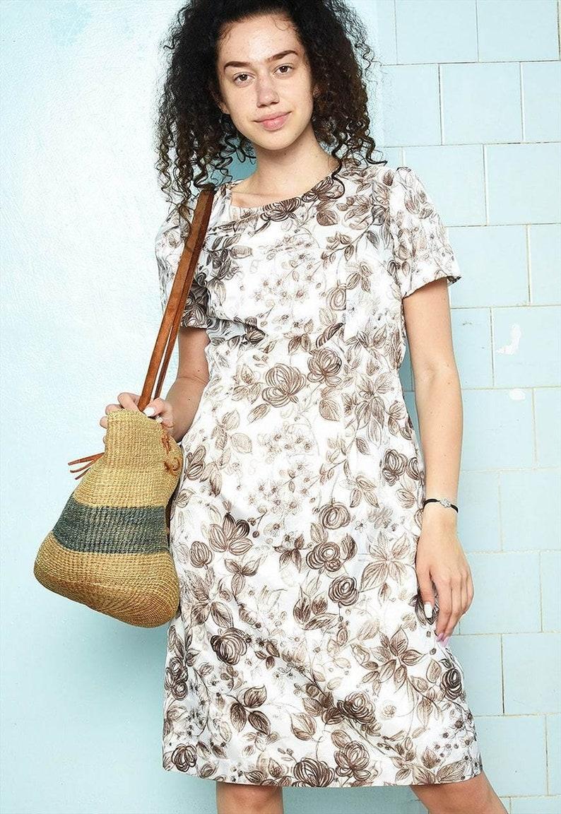 Stunning 70s Mod floral satin dress mini Parisian minimalist