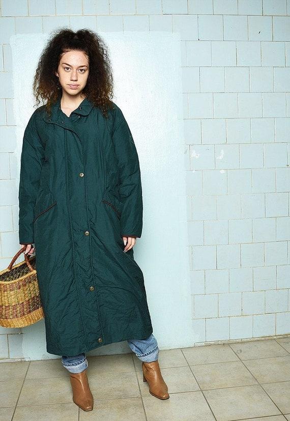 Vintage 80s Parisian chic puffer long cocoon coat