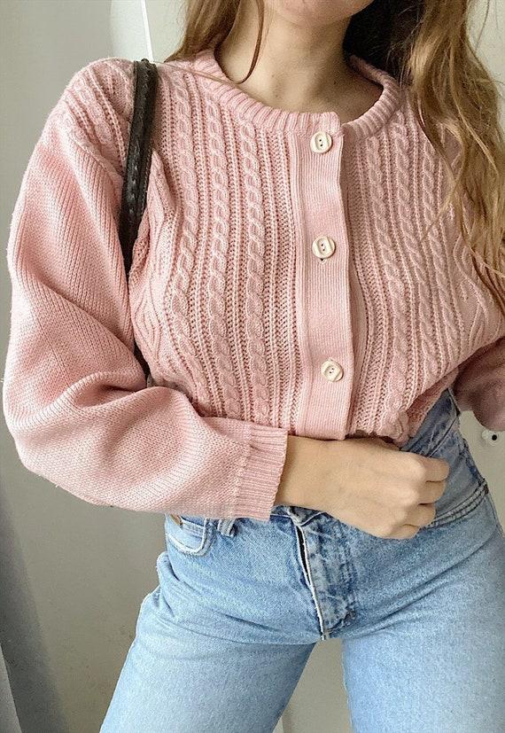 Vintage 80s pastel pink knit pastel cardigan jumpe