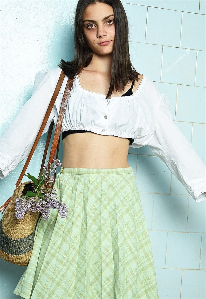 Vintage 60s Mod checked plaid tartan pleated mini skirt