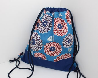 Children's backpack / gym bag flower blue (with or without name)