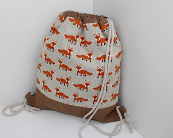 Children's backpack / gym bag foxes on the go (with or without name)