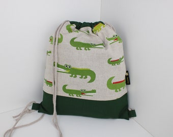 Children's backpack / gym bag crocodile (with or without name)