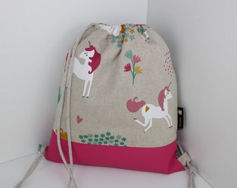 Children's backpack / gym bag unicorn in pink (with or without name)