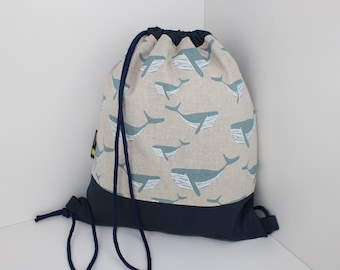 Children's backpack / gym bag whale light blue (with or without name)