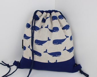 Children's backpack / gym bag whale (with or without name)