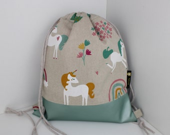 Children's backpack / gym bag unicorn beige / mint (with or without name)