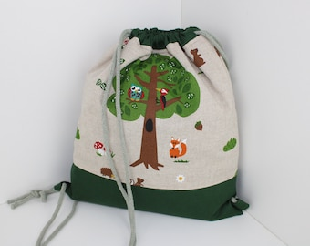 Children's backpack / gym bag forest friends (with or without name)