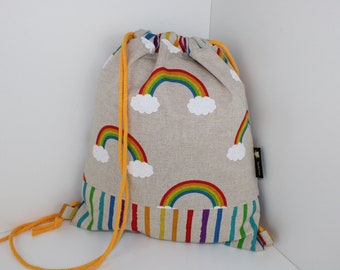 Children's backpack / gym bag Svealla rainbow colorful (with or without name)