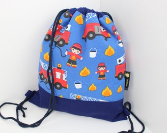 Children's backpack / gym bag fire brigade (with or without name)