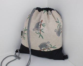 Children's backpack / gym bag koala / grey (with or without name)