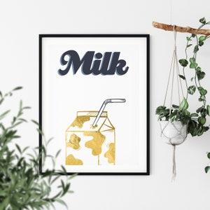 Typography Print Kitchen Illustration Kitchen Decor Kitchen Art Retro Art Foodie Gift New Home Gift Milk Carton Print Food Art Print