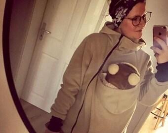 GoFuture ® Babywearing jacket carrying carrier carry Kangaroo mum and baby hoodie fleece VIVA handmade GoFutureWithLove