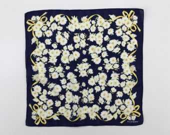 5f4d1ff9114 Yves Saint Laurent Handkerchief Vintage YSL Floral Crown Daisy Flower with  Ribbons Blue Pocket Square