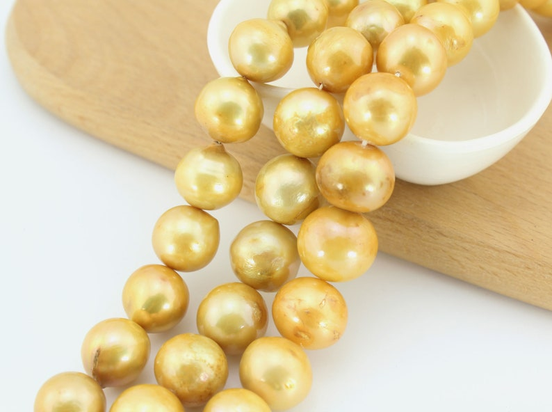 AA13-15mm High luster Gloden Pearl Strand,Near Round Pearl Beads,Genuine freshwater pearl beads,Baroque pearl beads,loose pearl beads-30 pcs
