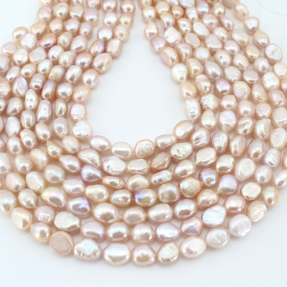 8-9mm Mixed Colours White Pink Peach Mauve Baroque Nugget Freshwater Pearls A
