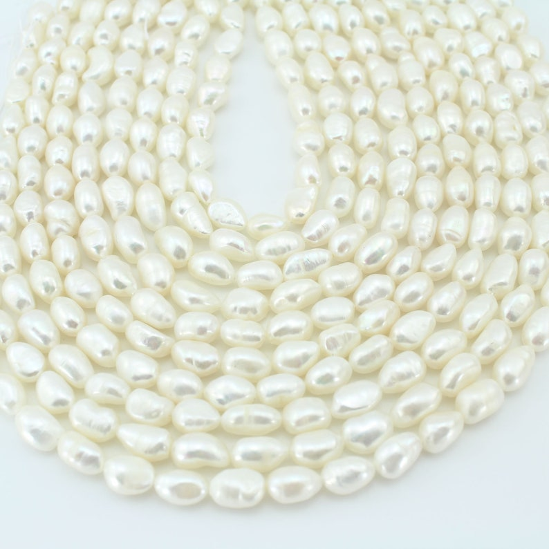 Genuine  Pearls 8-9mm White Nugget Baroque Pearl beads Natural Freshwater Pearl Beads Pearl for jewelry making14-15inches