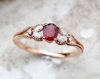 Ruby engagement ring, Oval cut rose gold ring, marquise cut diamond ring, vintage ring,milgrain ring, unique ring, anniversary ring