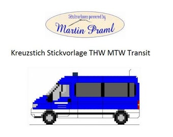 THW MTW On Ford Transit Cross Stitch Template