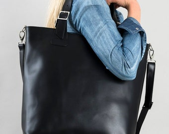 afb8e5a50e2ff Huge black leather bag