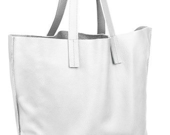 d0bd1adbd7308 Very large white leather bag tote