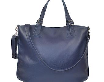 c76ec3df91fe6 Dark blue leather bag