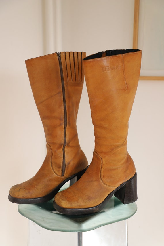 BROWN BOOTS - sand leather chunky boots