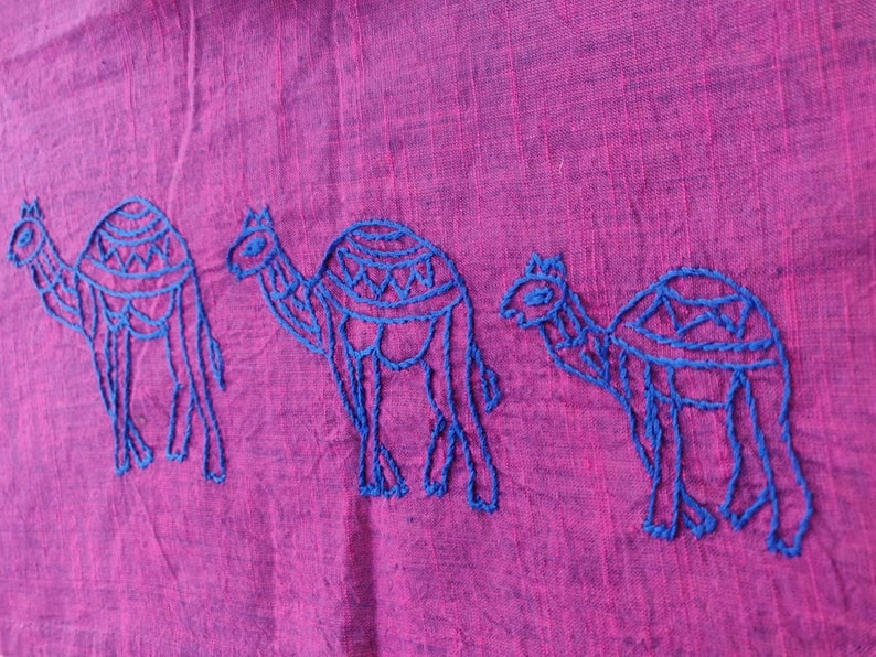 Indian napkins with camel embroidered set of 4 dinner napkins with soft cotton fabric in fuschia-blue double shade fabric reusable cotton