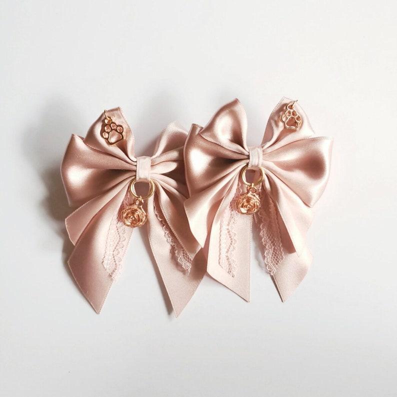 Two Dusky Blush Rose Gold Bows Hair Bows DDLG Bows Petplay Bows Kitten Play Bows Hair Bows Kawaii Bows Pastel Fashion Ear Bows